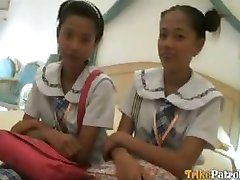 Two wild young Filipina schoolgirls in hot threesome with foreigner