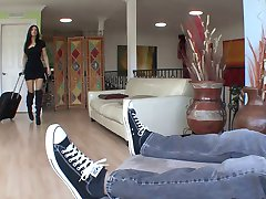 Gorgeous MILF in high boots rides young guy like a pro