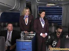 Busty cfnm stewardess analfucked mile high