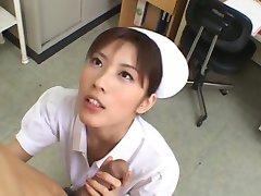 Asian nurse sucking a small dick