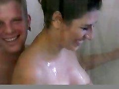Busty brunette gf in shower fuck