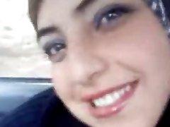 Hot arab flashing her boobs in the car