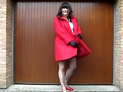 naked crossdresser under her coat