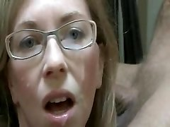 Milf Amateur with Glasses Getting a Facial
