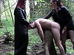 Goth femdoms pegging worthless fool together