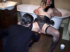 Squirt and anal fisting! Bella swallows sperm!