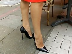 Walking n teasiing in high heels
