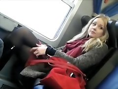 Spycam spies a lovable girl on the train
