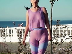 My fresh transparent workout outfit... Check my camel toe out