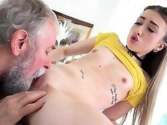 Elderly Goes Young - Nice Vlada splits open her long legs