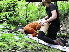 Lesbian Outdoor Rain woods Strap-On Tear Up