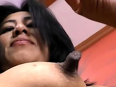 Latina cougar Veronica plays with her 1 inch puffies