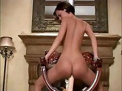 Small girl uses big fuck stick