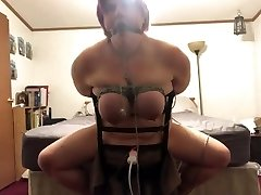 BBW tied to chair made to have multiple  climaxes