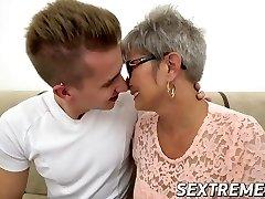 Naughty grandmother Jessye pounded hard