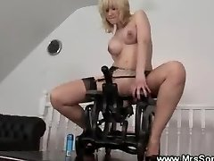 Horny mature rails on sex chair
