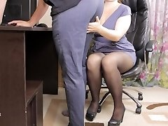 Teen lady manager seduced her employee and gave him spunk in panties