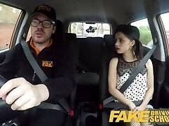 Faux Driving School Rough back seat fuck for puny infatuated learner
