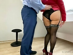 Business meeting break - secretary rides boss and gets sweet creampie and salary increase as reward