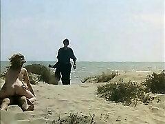 Voyeur Guy wanking and bang sandy-haired girl on a public beach