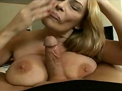 Mature slut swallows a younger cock