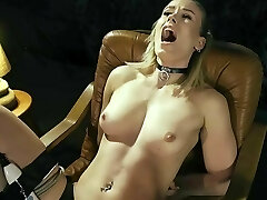 Tied ejaculation in the armchair