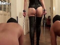 Obedient boys lick and polish anus of hot mistress  Sarah Dark