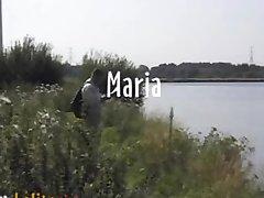 Swedish porn actress Maria Roswitha fucks outdoor