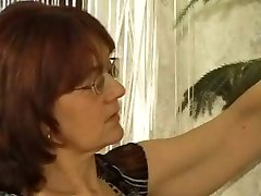 Granny Cleaner in Stockings Gets Cum on her Glasses
