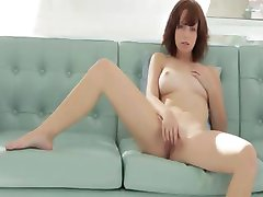 Huge glass dildo in redheads hole