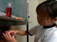 Japanese cutie Itsuki Wakana wanks a hard dick uncensored