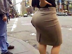Candid big ass walking in tight work dress