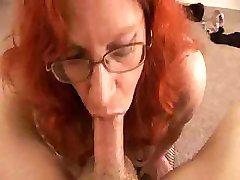 Red Hairy Mother Blowjob