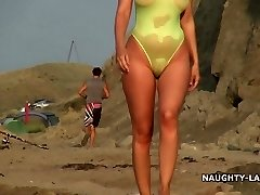 Sheer swimsuit and nude on the beach
