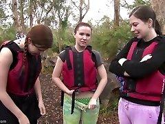 Rafting femmes fuckfest in the rapids