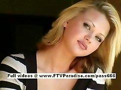 Svetlana ultra-cute blond girl drinks cofee