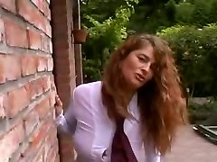 Sexy and busty curly MILF outdoor with Trio guys