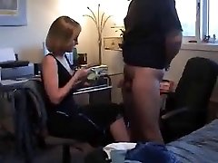 A ball tugging CFNM Hand Job by blonde wife