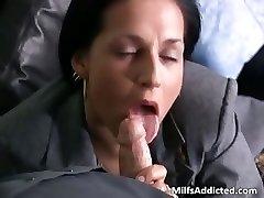 Slutty brunette Cougar secretary gets raw part4