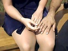 Sexy blonde pantyhose fuck outdoors