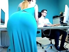Slender Blonde Secretary Drops Her Dress And Displays Her H
