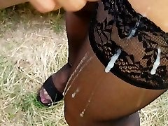 Mature in stockings poke in forest and jizz on her nylon gams