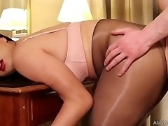 Tgirl Alina stockings sex with devotee and cum hard