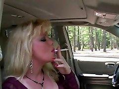 Scorching Blonde MILF Smoking & Sucking In Fishnets & High-heeled Slippers