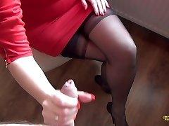 Cum all over nylon stockings