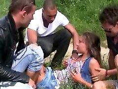 Hawt Czech Ultra-cutie and 3 Mates double penetration Outdoors