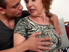 Sexy Czech grandma drills young lucky boy