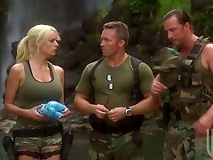 Two soldiers bang handsome cougar Stormy Daniels in the tent