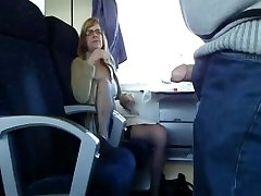 Mature wife gargles in train