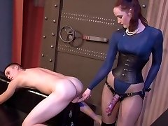 Hot English Lady Smashes Young Man's Ass with Strapon